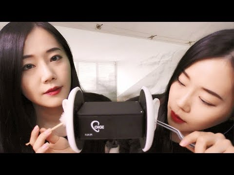 Asmr twin ear cleaning ear oil massage ear brushing ear tapping and tingly sounds - 5 6