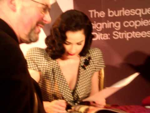 Sexy DITA VON TEESE book signing at Waterstones Bookstore in London 2009+Added music