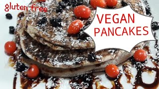 Gluten Free Vegan Pancakes with oat/coconut/buckwheat flour! Super easy!!