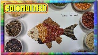 Melukis kolase Ikan Nemo dengan Biji bijian  | Learn colors for children Nemo Collage