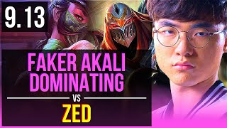 Faker AKALI vs ZED (MID) | 3 early solo kills, Dominating | Korea Challenger | v9.13