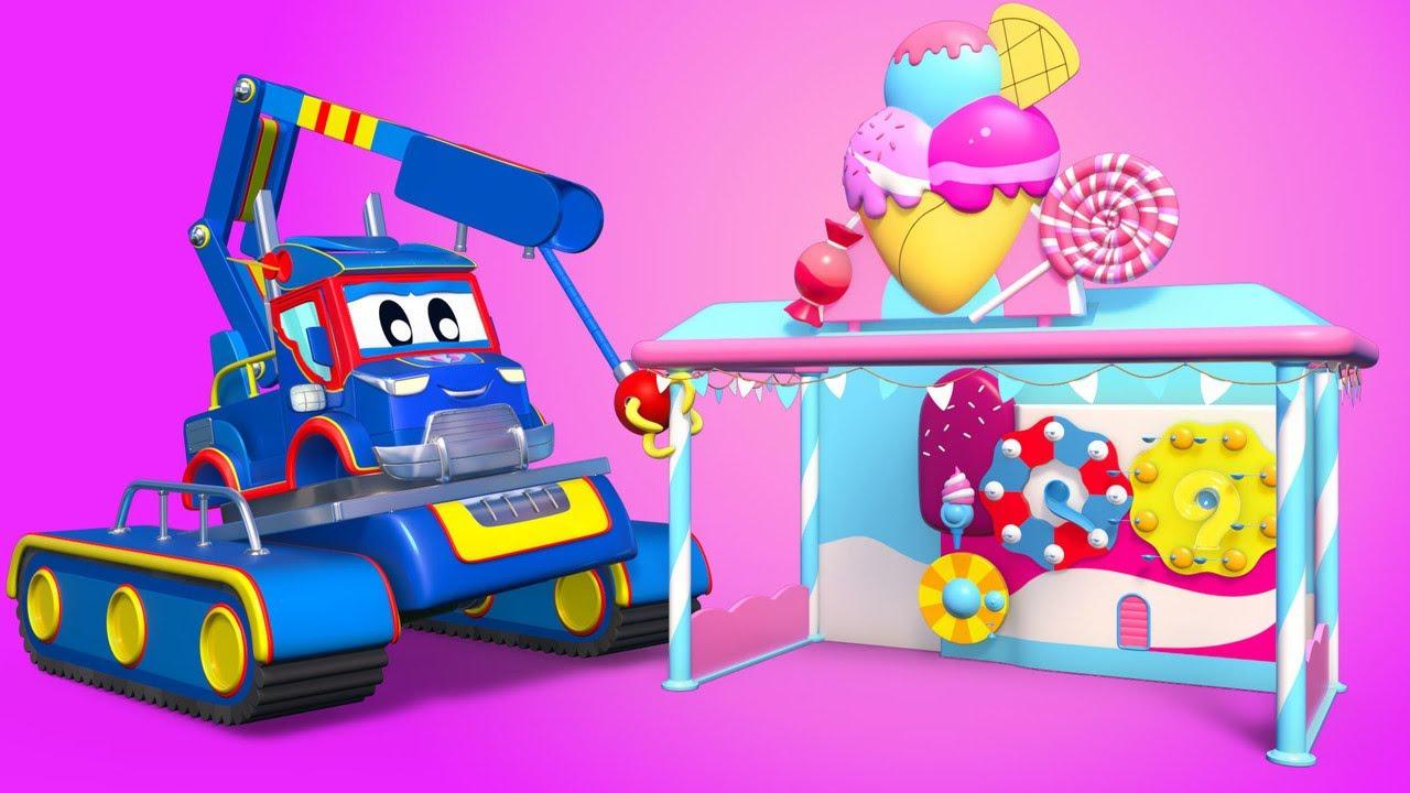 الشاحنة الخارقة !قم ببناء منصة الايس كريم مع شاحنات البناء مدينة السيارات - رسوم متحركة للصغار