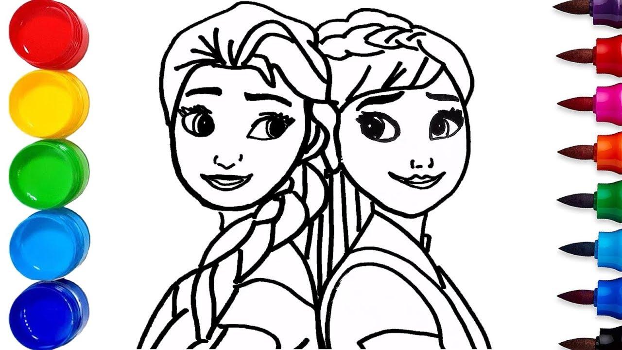 Belajar Cara Menggambar dan Mewarnai Princess Elsa and Anna Frozen - Untuk anak anak - Learn Colors