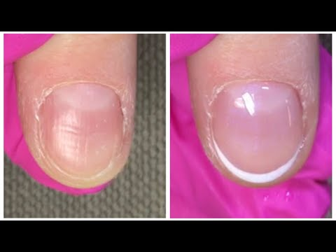 French Shellac Application On Very Short Nails