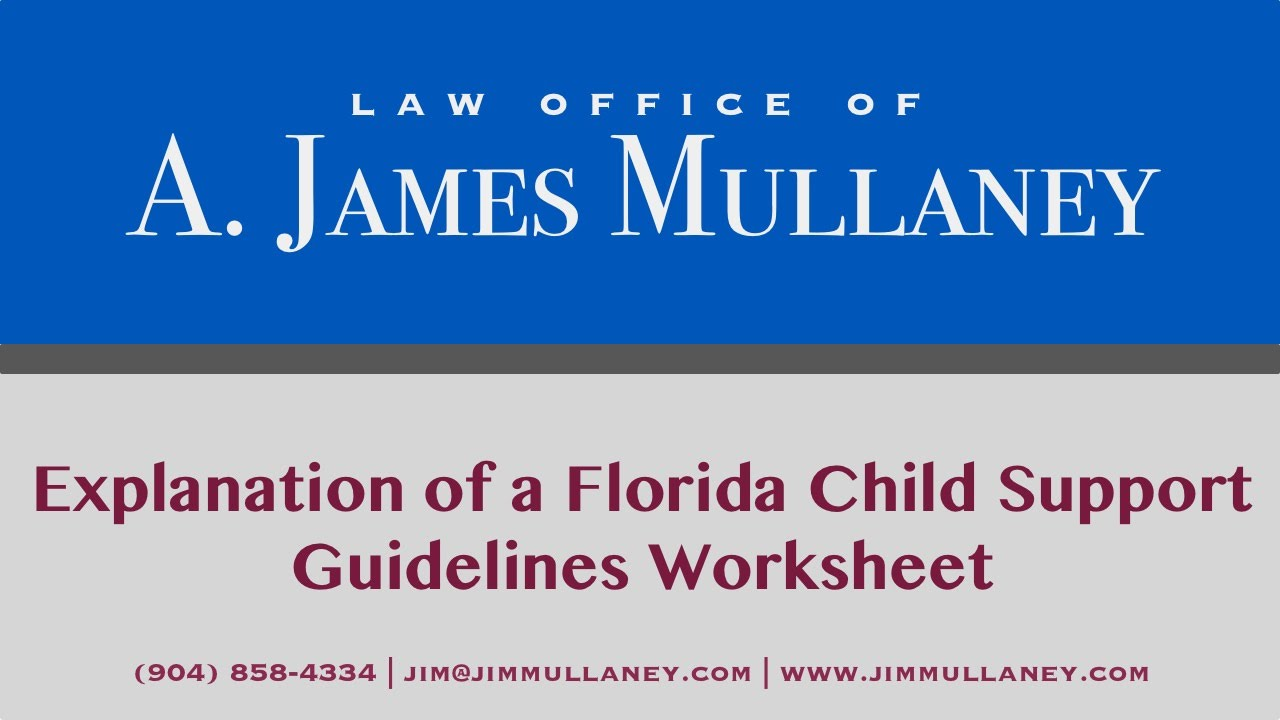 Explanation of a Florida Child Support Guidelines Worksheet - YouTube