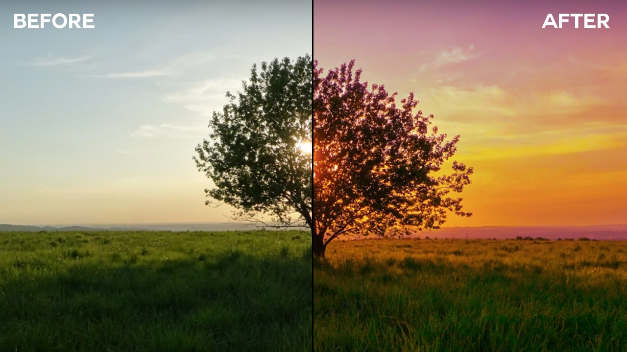 photoshop tutorial  create colorful evening landscape  photoshopdesire com