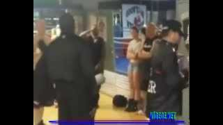 Boxers were beating each other up in the gym...