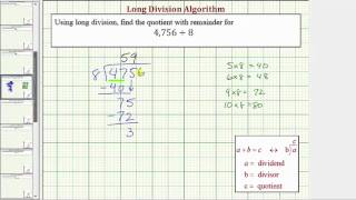 Ex: Long Division - Four Digit Divided by One Digit (With Remainder)