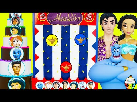 Disney's NEW Aladdin Live Action Disk Drop Game Genie Magic Battle Cake With Surprises