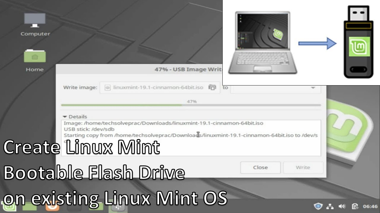 linux mint create bootable usb from iso