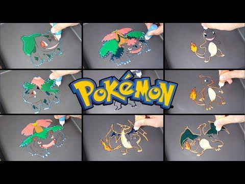 Pokemon Evolution Pancake Art - Bulbasaur, Charmander / Satisfying Video For Kids / learn co colors