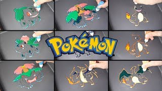 Pokemon Evolution Pancake Art - Bulbasaur, Charmander / Satisfying Video For Kids / learn co colors