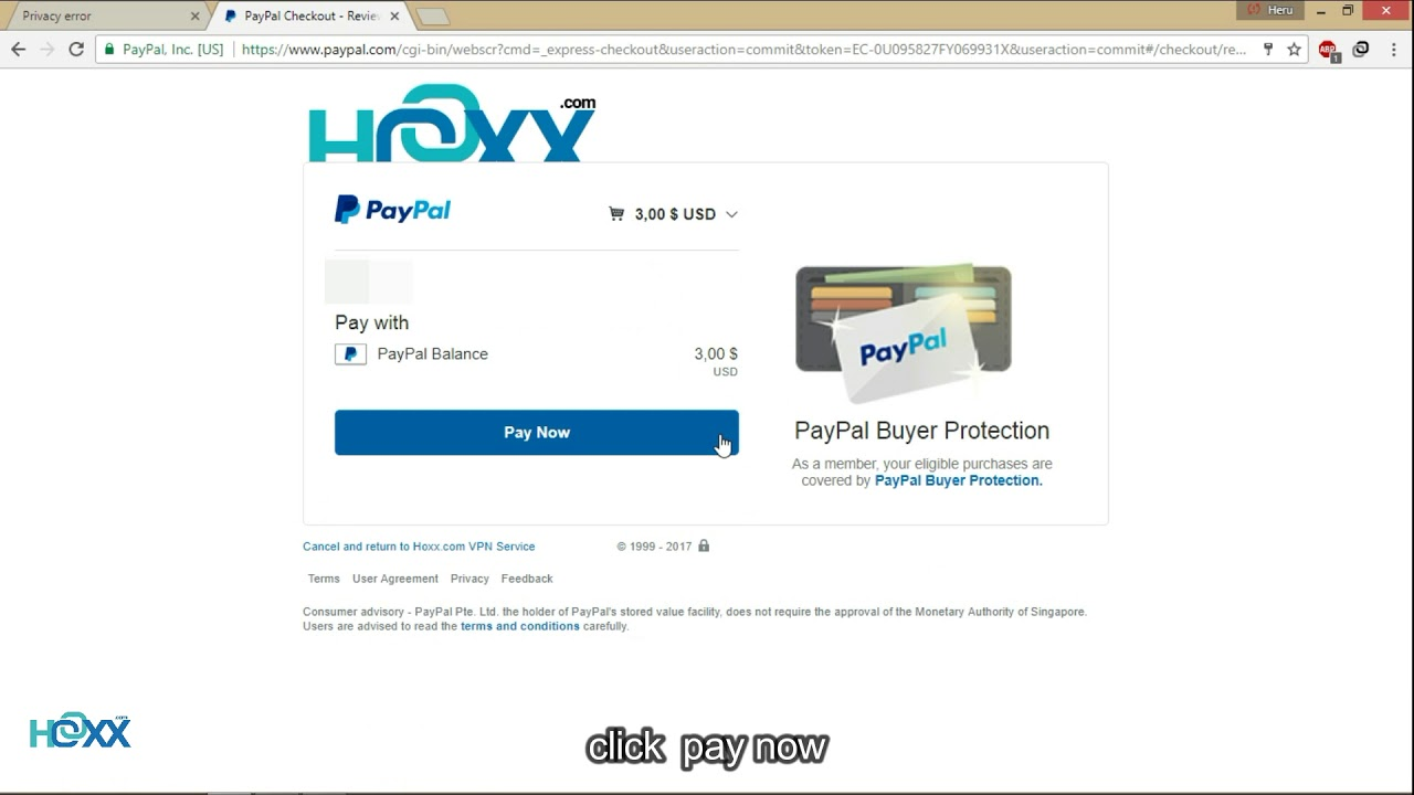 Hoxx Paypal Payment Demontration