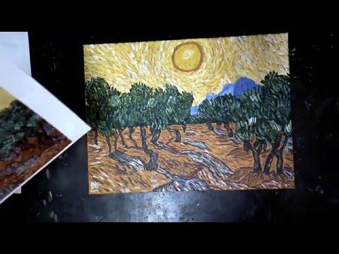 How to paint Like Van Gogh Yellow Sky and Olive Trees in acrylics on canvas tutorial