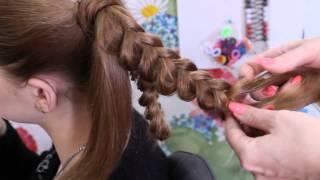 видео плетение цветок из волос