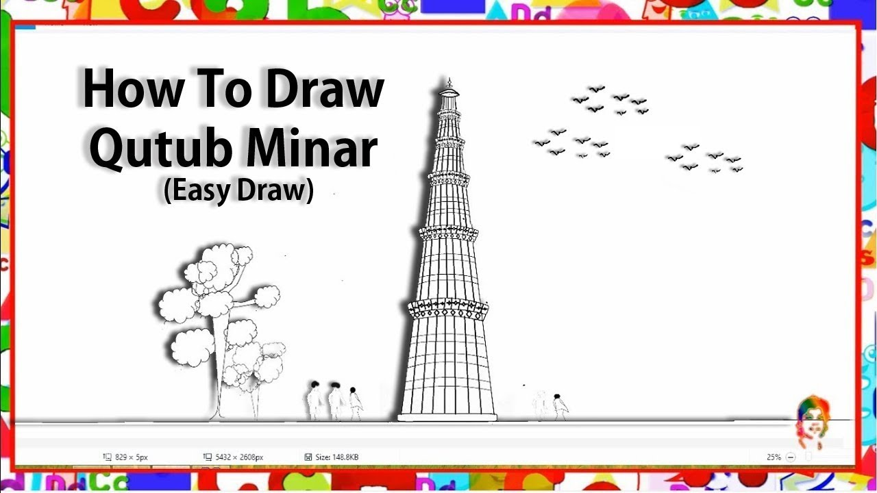 How to draw qutub minar step by step - Learn by art - YouTube Qutub Minar Sketch For Kids