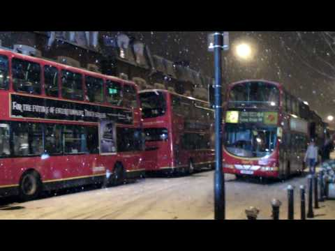 Buses Stranded In The Snow Fulham Road, London (1st Feb 2009)