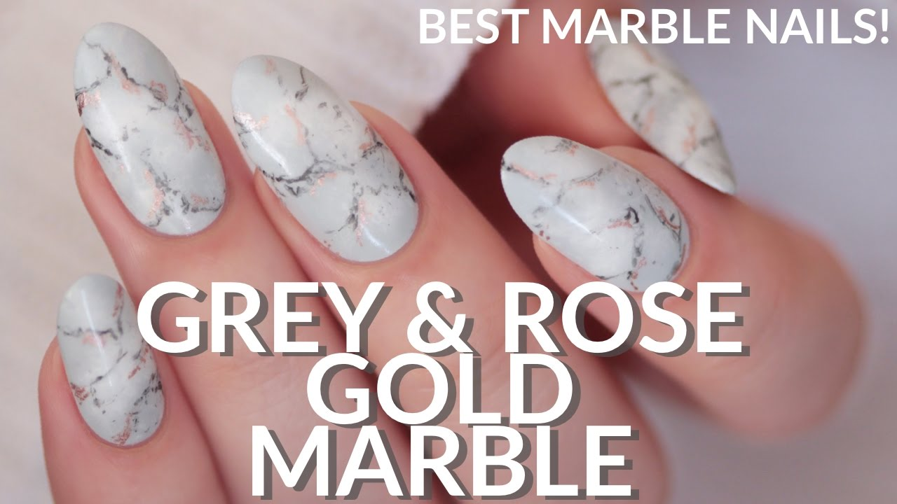 Easiest Realistic Marble Nails Grey Rose Gold Easy Nail Art