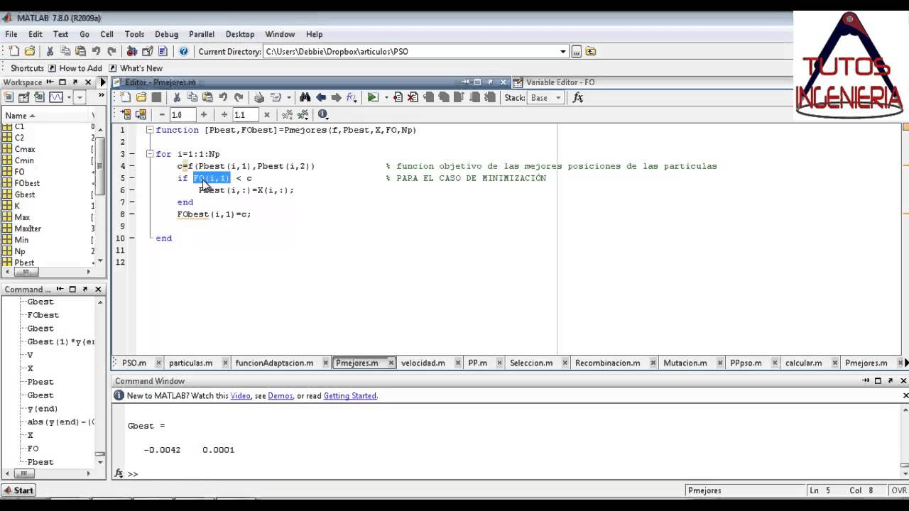 final implementación PSO en Matlab