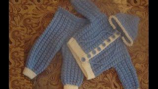 Костюмчик для малыша спицами. Часть 2.  suit for baby knitting(Во второй части вяжем кофточку с капюшоном. Заодно научимся делать пуговицы из пряжи. ========================================..., 2014-07-28T21:31:40.000Z)