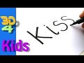 How to turn words KISS into a Cartoon for kids - How to draw doodle art on paper #5