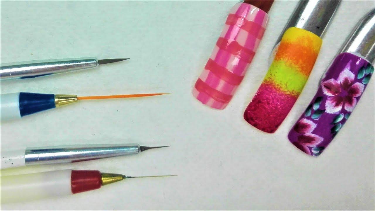 Adelgazar Pinceles para hacer diseños en las uñas - Cómo usar ...