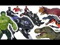 Giant dinosaurs appeared! Marvel Avengers Black Panther, Hulk, transform Rhino! Go! - DuDuPopTOY