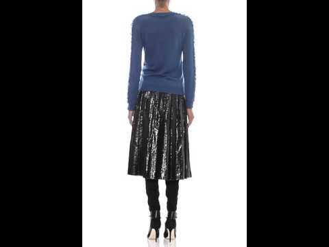MARC JACOBS Crinkled-leather pleated midi skirt