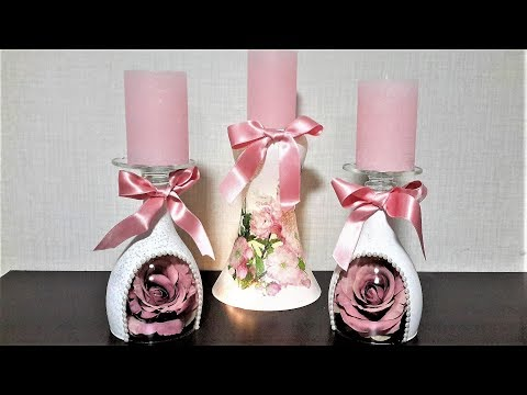ПОДСВЕЧНИКИ СВОИМИ РУКАМИ\ ИДЕИ КАК СДЕЛАТЬ ДЕКОР... Hand-made Candlestick
