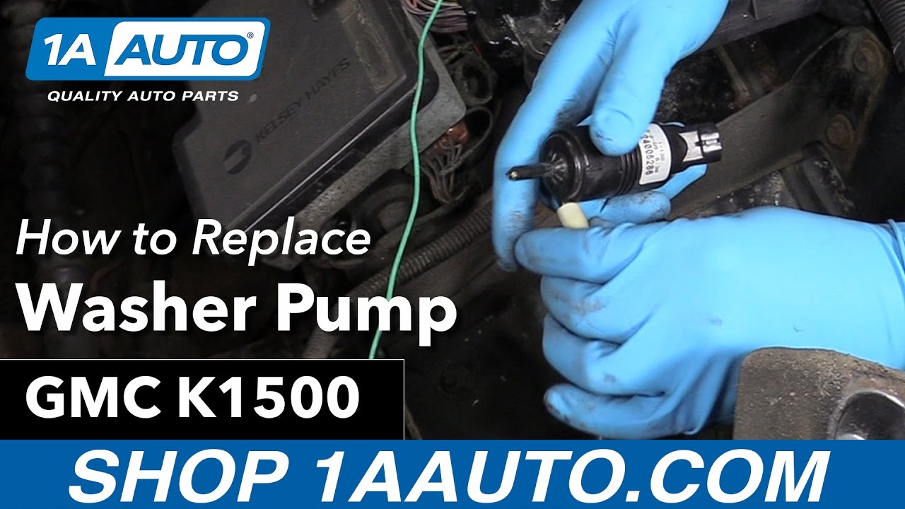 how to replace install washer pump 92 99 gmc sierra k1500 [ 1280 x 720 Pixel ]
