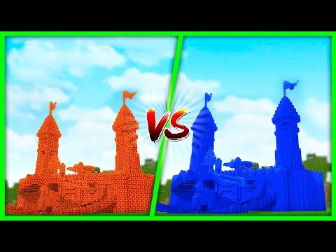 Minecraft - LAVA HOUSE VS WATER HOUSE (Castle Vs Castle Challenge)