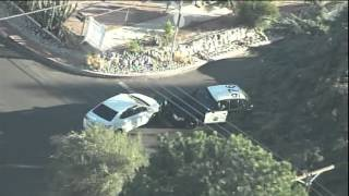 Police chase in La Crescenta, California on Halloween (from KNBC)
