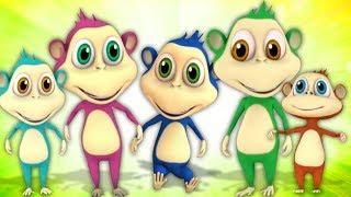 пять маленьких обезьян | детский стишок | Five Little Monkeys | мультфильм песня в россии