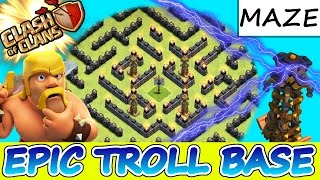 "Clash Of Clans | EPIC TROLL BASE! ""MAZE OF DEATH"" 