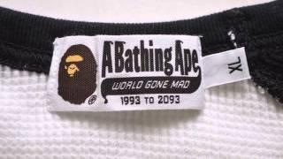 37733 a bathing a ape 白黒長袖Tシャツ XL.