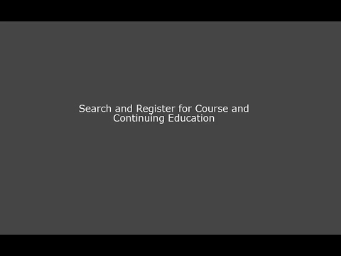 TCEO Tutorial Video–Search and Register for Course and Continuing Education