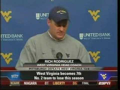 RichRod Press Conference after Backyard Brawl Collapse