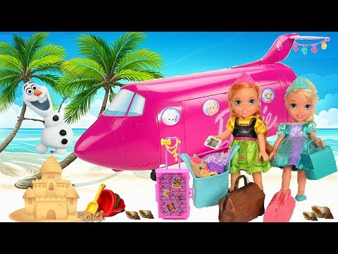 Elsa and Anna Toddlers Pack their Suitcases and Go on Holidays! Vacation Beach Hotel Plane Camping