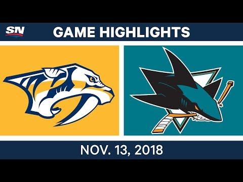 NHL Highlights | Predators vs. Sharks – Nov. 13, 2018