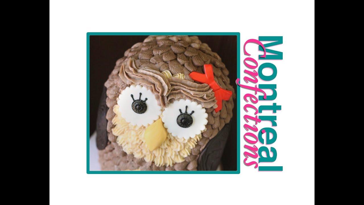 How to make an owl cake easy 3D buttercream cake YouTube