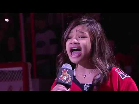 ANGELICA HALE NEW NATIONAL ANTHEMS -- CANADA AND U.S.A. OTTAWA NHL HOCKEY GAME