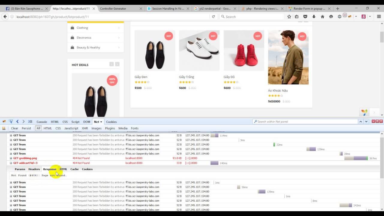 [Yii2 framework] Shopping Cart