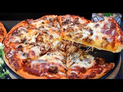 صورة  طريقة عمل البيتزا الذ واطيب بيتزا ممكن تعملوها بيتزا بالدجاج  بعجينه قطنيه  اكثر من رائعه مع صلصه بيتزا سريعه طريقة عمل البيتزا بالفراخ من يوتيوب