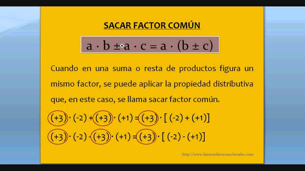 Resultado de imagen de EL FACTOR COMUN DE LA RESTA Y LA SUMA DE PRODUCTOS
