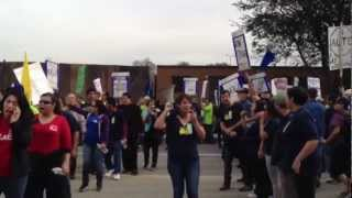 Warehouse Workers United Block Traffic in front of Walmart Distribution Hub