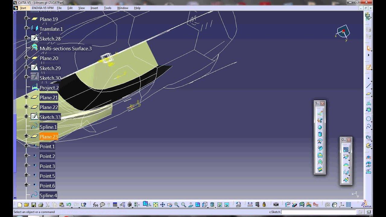 tutorial citroen gt catia v5 part 3 9 youtube. Black Bedroom Furniture Sets. Home Design Ideas