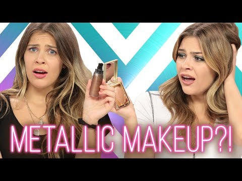 METALLIC MAKEUP CHALLENGE?! Wing It w/ Caci Twins