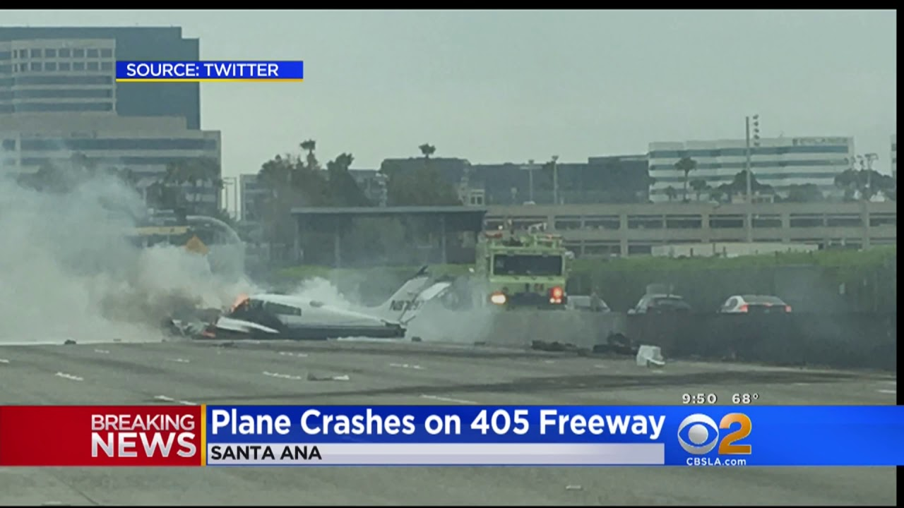 Plane crashes on Northbound 405 Freeway in Irvine