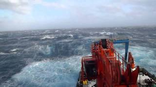 Rough seas on the RRS James Cook with big waves