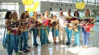 Синхронное плавание. Встреча олимпийской сборной Украины в Харьковском аэропорту.